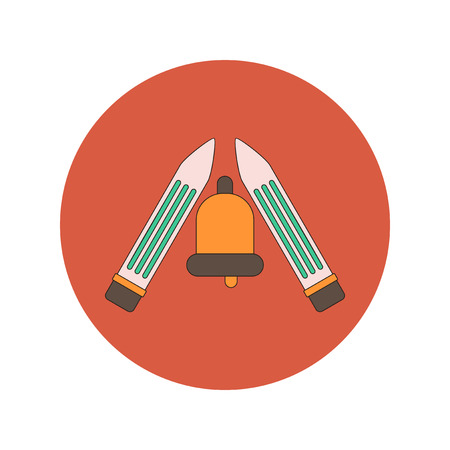 Back to School and Education Vector Flat Design bell and pencils