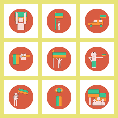 ukrainian: Collection of icons in flat style ukrainian Independence Day Illustration