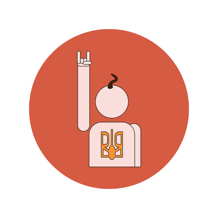 Vector illustration in flat design of Cossack and Ukrainian emblem