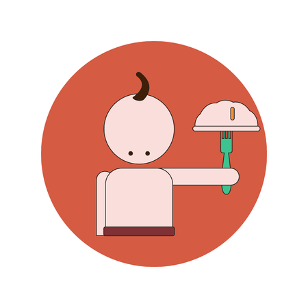 Vector illustration in flat design of Ukrainian Cossack with food