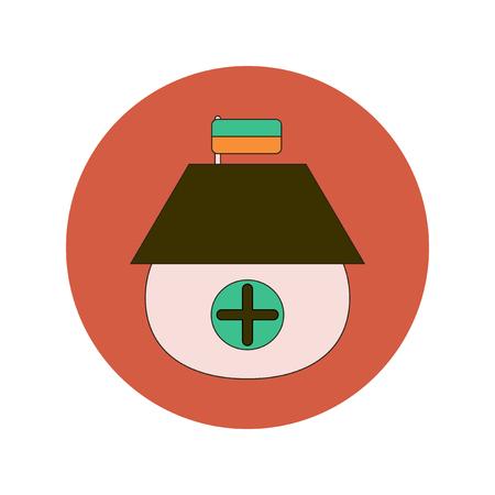 Vector illustration in flat design of Ukrainian hut with flag