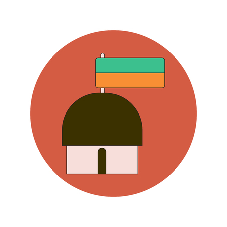 thatched: Vector illustration in flat design of Ukrainian hut with flag