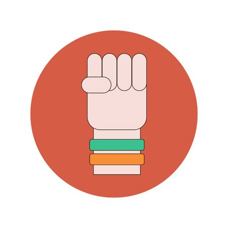 Vector illustration in flat design of hand with Ukrainian flag rubber wristbands