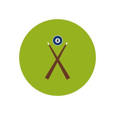 cue ball: stylish icon in color  circle Billiard ball cue Illustration