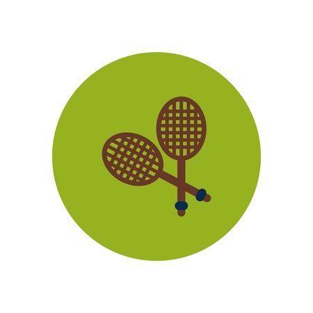 racquetball: icono de estilo en el color del cohete círculo de tenis