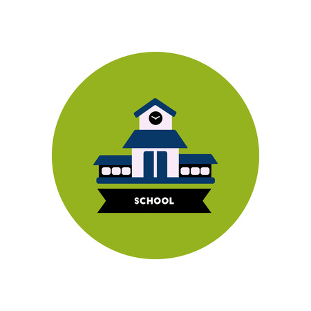 learners: stylish icon in color  circle building school Illustration