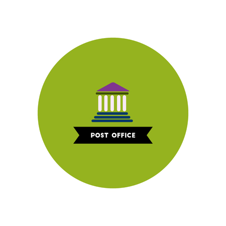 stylish icon in color circle  building post office Illustration