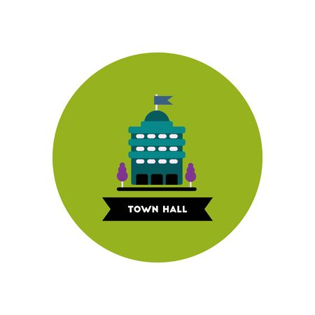 stylish icon in color circle  building town hall