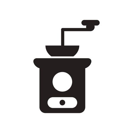 coffee mill: flat icon in black and white  style coffee mill Illustration