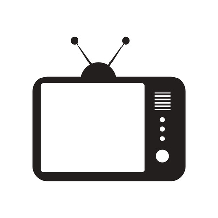 tvset: flat icon in black and white  style TV Illustration