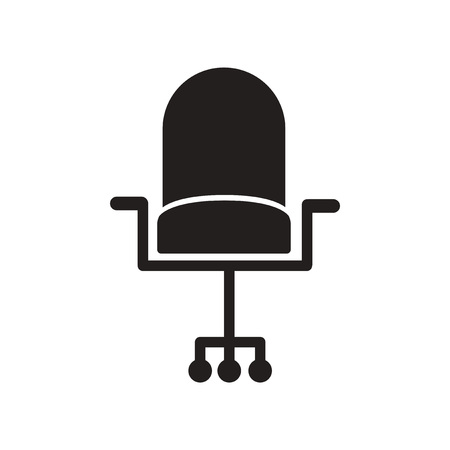 flat icon in black and white style office chair