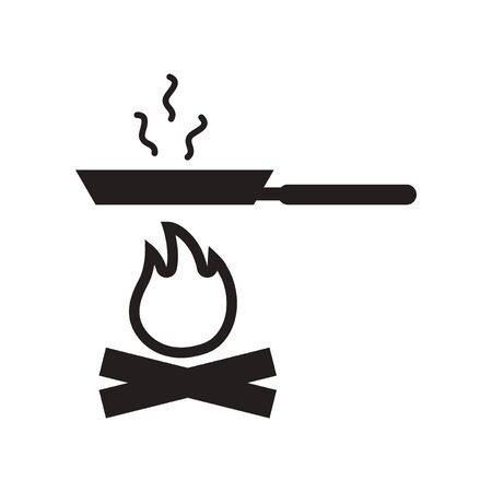 flat icon in black and white  style Pan with fire