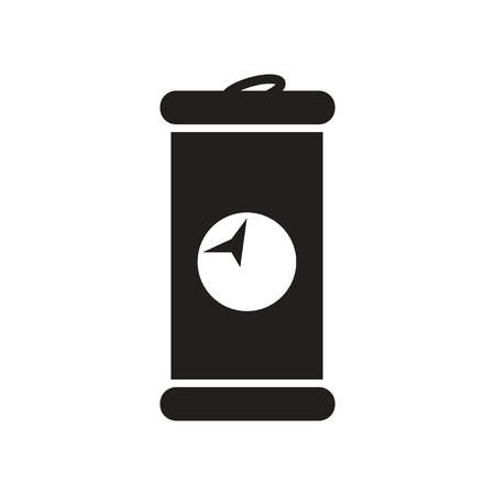 trash danger: flat icon in black and white  style iron barrel Illustration