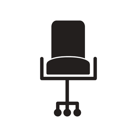 revolving: flat icon in black and white  style office chair