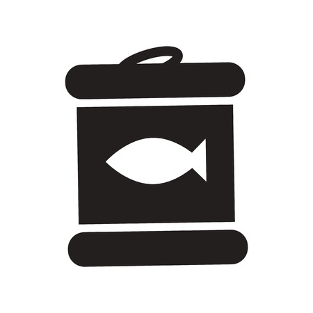 tinned: flat icon in black and white  style Canned tuna fish