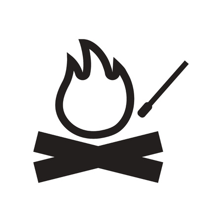 flammable warning: flat icon in black and white  style fire and match