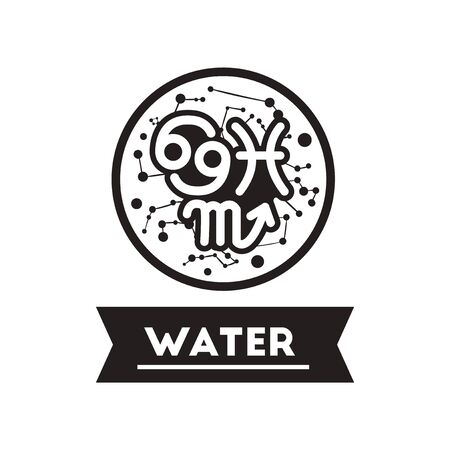 zodiacal: flat icon in black and white  style element zodiacal Water
