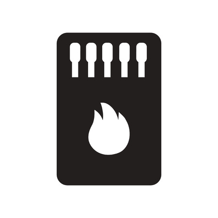 open flame: flat icon in black and white  style Matchbox and matches Illustration