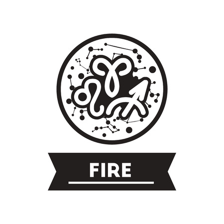 zodiacal: flat icon in black and white  style zodiacal element of fire