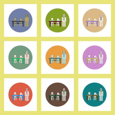 pupils: flat icons set of back to school concept on colorful circles teacher and pupils