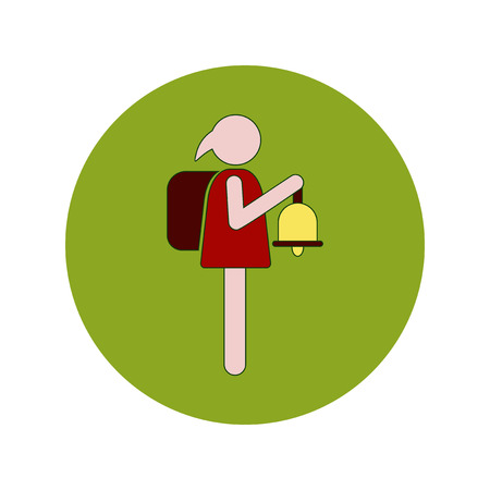Back to School and Education Vector Flat Design schoolgirl with bell