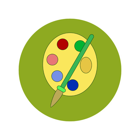 Back to School and Education Vector Flat Design Palette with paints and brush Illustration