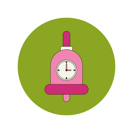first class: Back to School and Education Vector Flat Design bell and clock