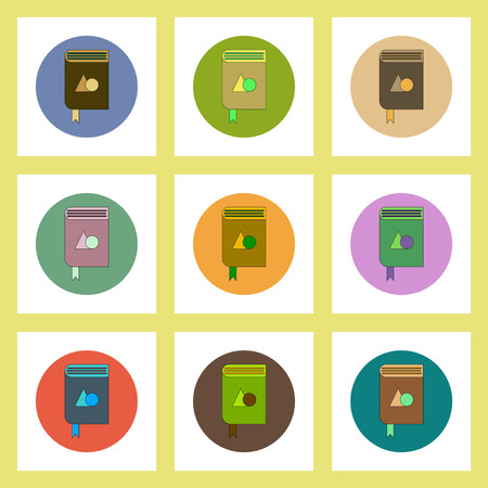 thesaurus: flat icons set of back to school concept on colorful circles geometry book Illustration