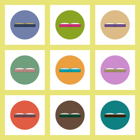 thesaurus: flat icons set of back to school concept on colorful circles Open book