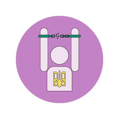 shackles: Vector illustration in flat design of Ukrainian man breaks the shackles