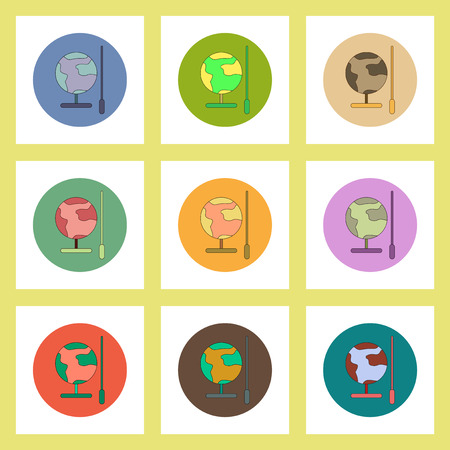 school globe: flat icons set of back to school concept on colorful circles school globe Illustration