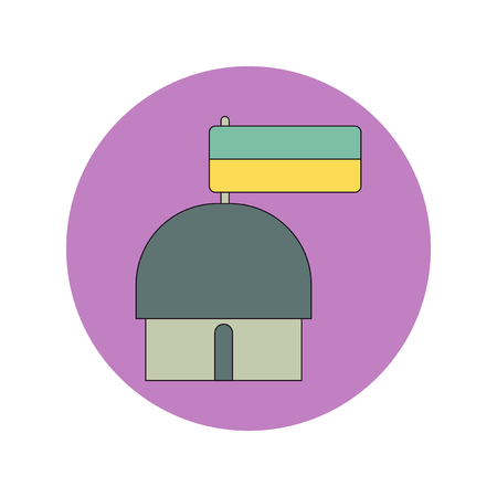 Vector illustration in flat design of Ukrainian hut with flag