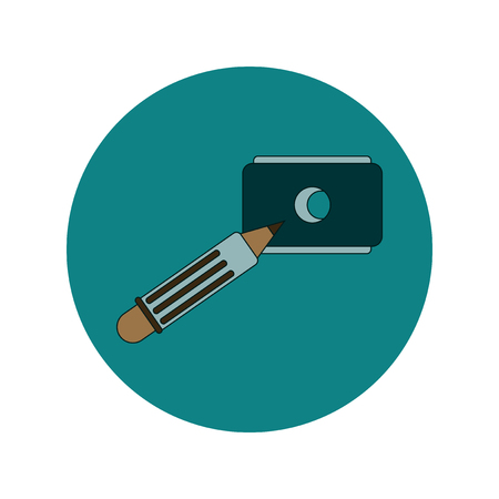 sharpening: Back to School and Education Vector Flat Design pencil and sharpener