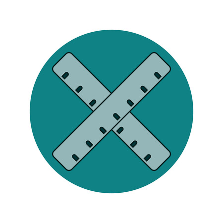 millimeters: Back to School and Education Vector Flat Design Two crossed rulers