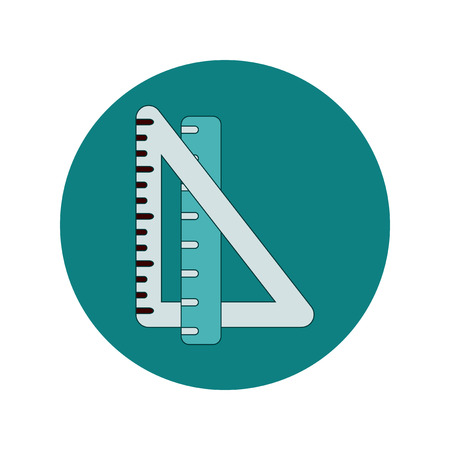 Back to School and Education Vector Flat Design triangle ruler