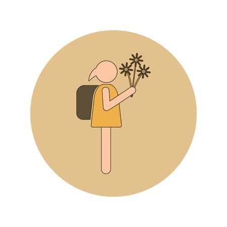 Back to School and Education Vector Flat Design schoolgirl with flowers