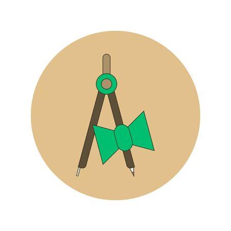 School compass flat icon. Vector illustration of architect drafting compass Illustration