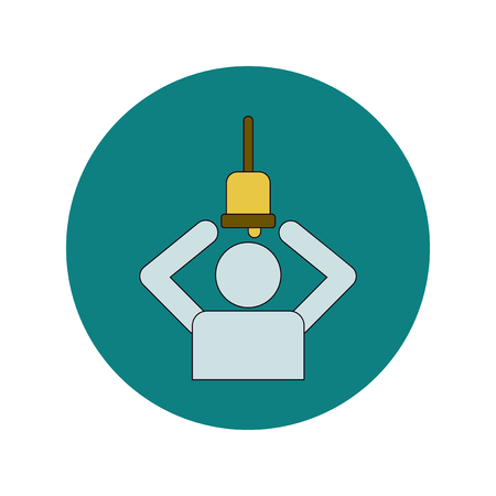 Back to School and Education Vector Flat Design teacher holding bell