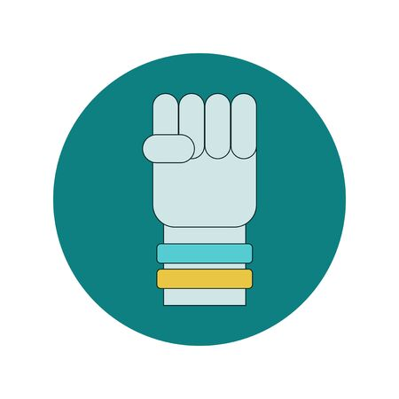 wristbands: Vector illustration in flat design of hand with Ukrainian flag rubber wristbands