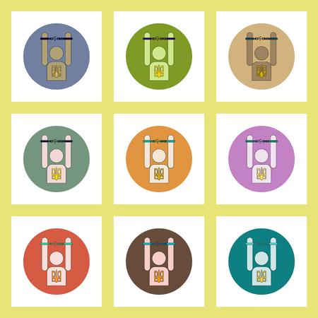 shackles: flat icons set of Ukrainian national items concept on colorful circles Ukrainian man breaks the shackles