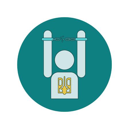 breaks: Vector illustration in flat design of Ukrainian man breaks the shackles