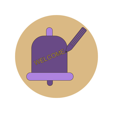 ding dong: Back to School and Education Vector Flat Design bell and pencil Illustration