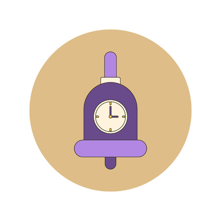 ding dong: Back to School and Education Vector Flat Design bell and clock