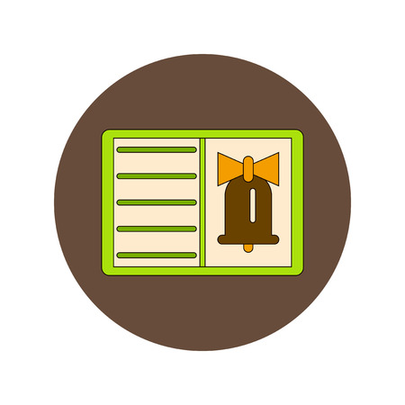 alert ribbon: Back to School and Education Vector Flat Design bell and book Illustration