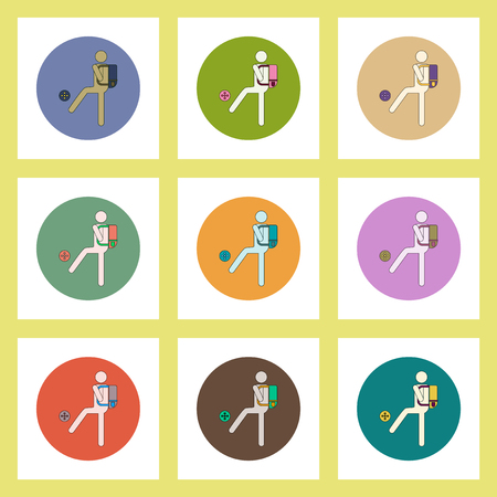 schoolroom: flat icons set of back to school concept on colorful circles schoolboy with ball