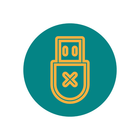Vector icon  on the topic office  on  circle usb connect Illustration