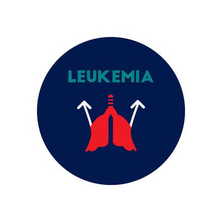 leukemia: Vector icon  on  circle various symptoms of leukemia on bodies Illustration