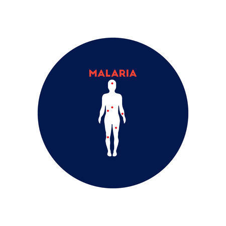 disease carrier: Vector icon  on  circle various symptoms of Malaria on the human