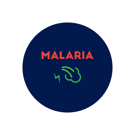 affects: Vector icon  on  circle various symptoms of Malaria on the bodies