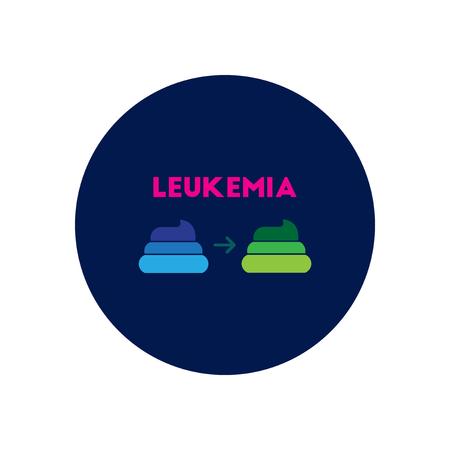leucemia: icono del vector en diversos síntomas círculo de leucemia en las heces